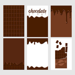 Set of bright food cards. Set of chocolate and  choco glaze. Chocolate seamless pattern, background, card, poster.  Chocolate glaze pattern, background. Inscription chocolate dripping glaze