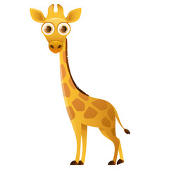 Giraffe cute cartoon character isolated on white background. Vector illustration