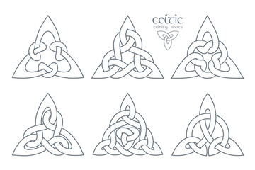 Vector celtic trinity knot  part 2. Ethnic ornament. Geometric d