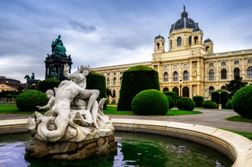 Maria-Theresien-Platz in Vienna, public park and fountain with the Natural History Museum on the background