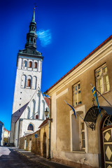Tallinn, Estonia: the old town in the summer. St. Ofaf's church