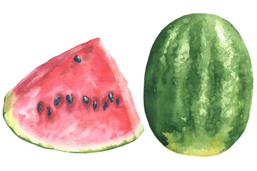 Hand drawn watercolor piece and full watermelon illustration, food drawing isolated on white background.
