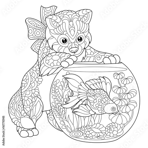 quot coloring page of kitten wondering about goldfish in