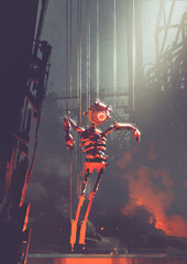 malfunctioning robot puppet hanging on strings in foundry, digital art style, illustration painting