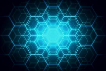 Blue hexagonal backdrop