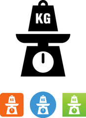 Scale With Kilogram Weight Icon - Illustration