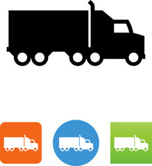 Semi Truck Side View Icon - Illustration
