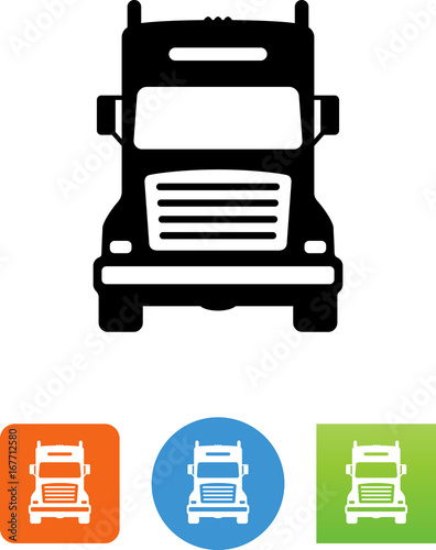 """Semi Truck Front Icon - Illustration"" Stock image and ..."