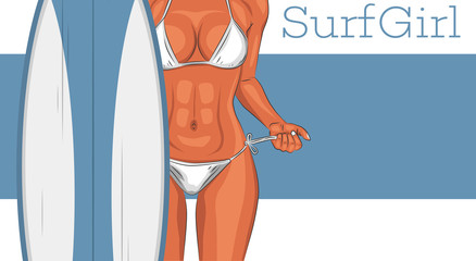 Sexy young surfer girl in swimsuit illustration