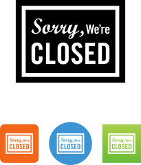 Sorry We're Closed Sign Icon - Illustration