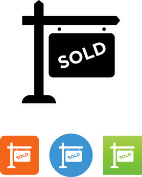 Sold Sign Icon - Illustration