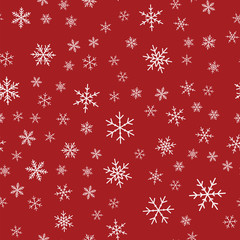 White snowflakes seamless pattern on red Christmas background. Chaotic scattered white snowflakes. Exceptional Christmas creative pattern. Vector illustration.