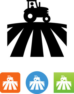 Tractor In A Field Icon - Illustration