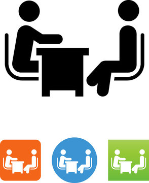 Two People At A Desk Icon - Illustration