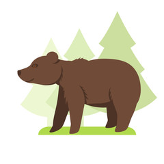 Image in a flat style, cartoon bear on the grass and in the background grow trees