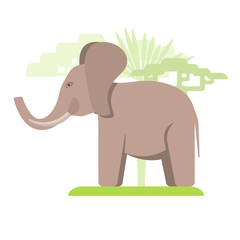 Image in a flat style, cartoon elephant on the grass and in the background grow trees