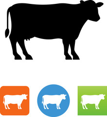 Vector Dairy Cow Silhouette Icon - Illustration