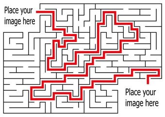 rectangle labyrinth with entry and exit.vector game maze puzzle with solution.Num.06
