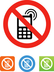Vector No Cell Phones Icon - Illustration