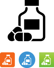 Vector Prescription Bottle With Pills Icon - Illustration