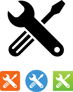 Vector Screwdriver And Wrench Icon - Illustration