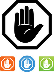 Vector Stop Sign With Hand Icon - Illustration