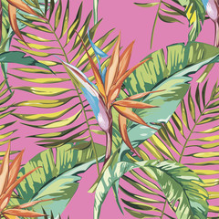 Elegance seamless pattern in vintage style with Strelitzia flowers. EPS 10