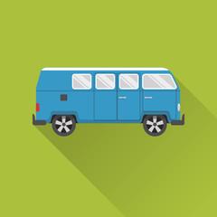 Flat style retro minivan car icon