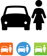 Woman Standing Next To A Car Icon - Illustration
