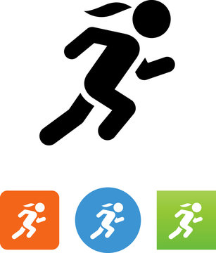 Woman Sprinting Icon - Illustration