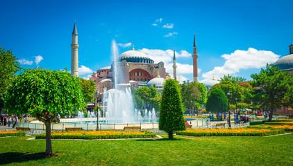 Wall Murals Istambul, Turkey 11.07.2017. Sultan Ahmet park in Istanbul, Turkey, Europe. Ayasofya Museum (Hagia Sophia)
