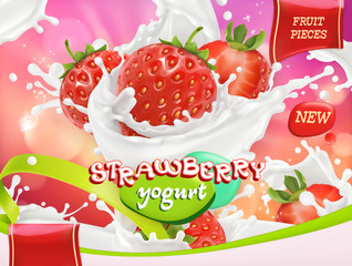 Strawberry yogurt. Fruits and milk splashes. 3d realistic vector, package design