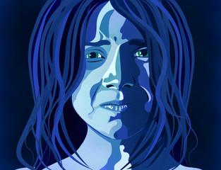 Donna depressione, abuso, maltrattamento, picchiare, ragazza, bambina, violenza sulle donne