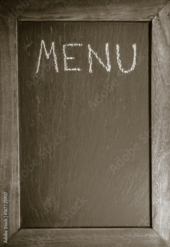 chalkboard with wooden frame for restaurant with written text menu