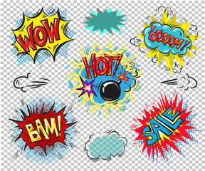 Collection of seven multicolored comic sound Effects sale