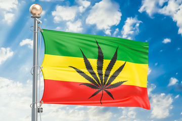Rasta Flag, Cannabis leaf on Rastafarian flag. 3D rendering