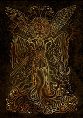 Mystic illustration with evil goddess or female demon with tentacles, skull and mystic spiritual symbols on texture background