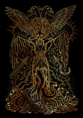 Mystic illustration with evil goddess or female demon with tentacles, skull and mystic spiritual symbols on black background