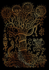 Mystic illustration with spiritual and christian religious symbols as snake, tree of knowledge and forbidden fruit on black background