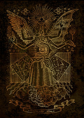 Mystic illustration of spiritual symbols, goddess of wisdom and constellations on texture background