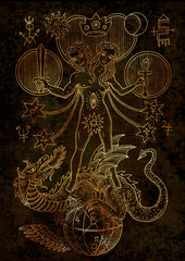 Mystic illustration with spiritual and alchemical symbols, androgyne, twins or Gemini concept on texture background
