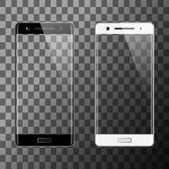 Black and white smartphones isolated