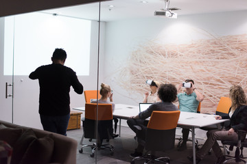 startup business team using virtual reality headset