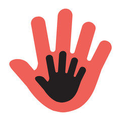 Hand of a child in an adult hand, red and black illustration. Vector