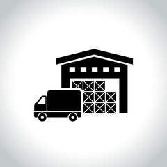 warehouse icon on white background