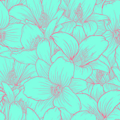 Beautiful monochrome, blue and pink seamless pattern with lilies. Hand-drawn contour lines.