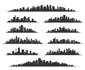 Urban cityscape silhouettes vector illustration. Night town skyline or black city buildings isolated on white background