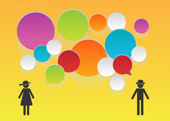 bubble speech people for communication. social concept blank for your tex. vector illustration.