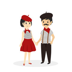 cute french couple, french madame and monsieur cartoon vector
