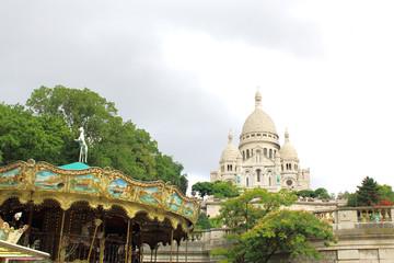 Zelfklevend Fotobehang Centraal Europa Sacre Coeur Cathedral on Montmartre Hill, Paris.